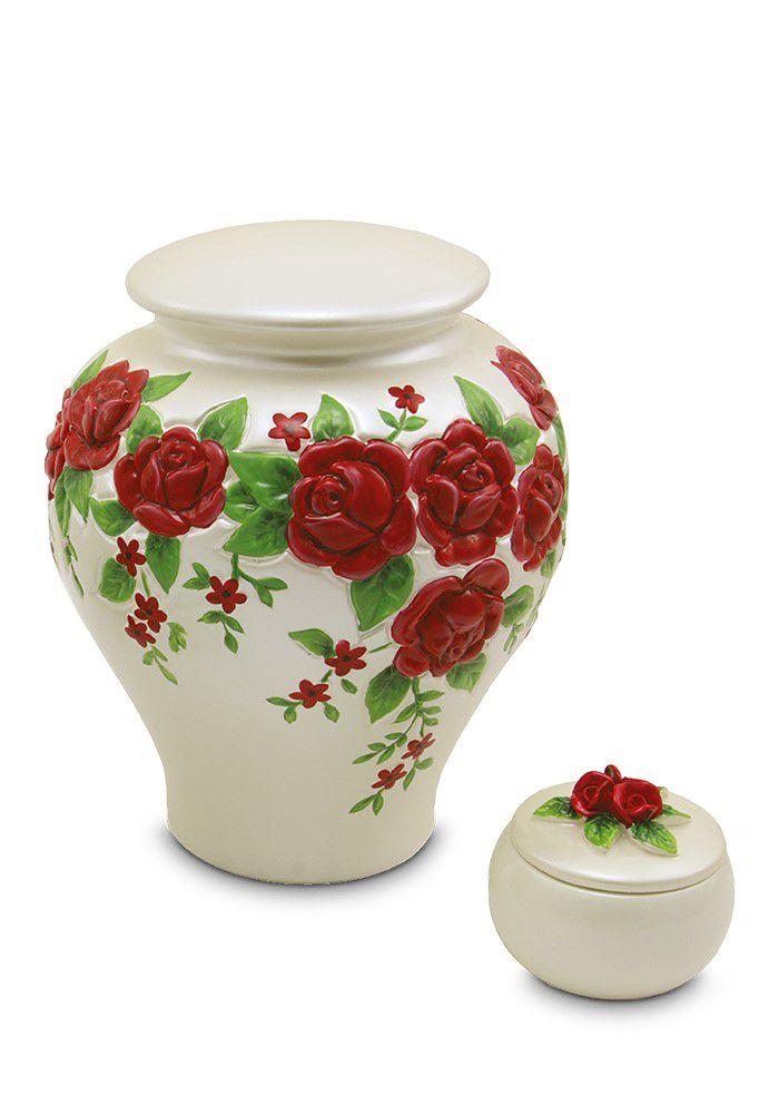 Keramische Rode Rozen Relief Mini Urn (0.16 liter)
