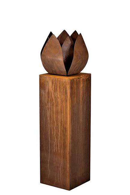 Grote RVS Tulp Urn op Kleinere RVS Assokkel (2 x 3.5 liter)