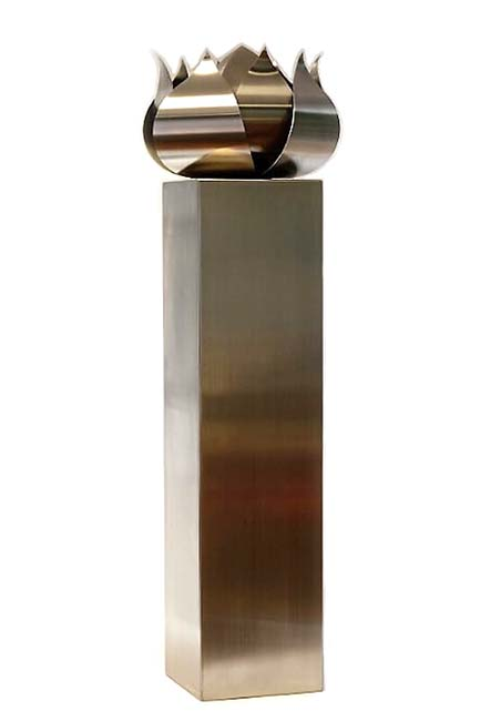 Grote RVS Roos Urn op Grote RVS Assokkel (2 x 3.5 liter)