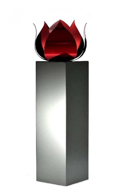 Grote RVS Roos Urn op Kleinere RVS Assokkel (2 x 3.5 liter)