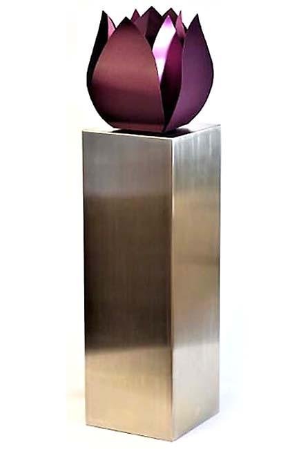 Grote RVS Tulp Urn op Grote RVS Assokkel (2 x 3.5 liter)