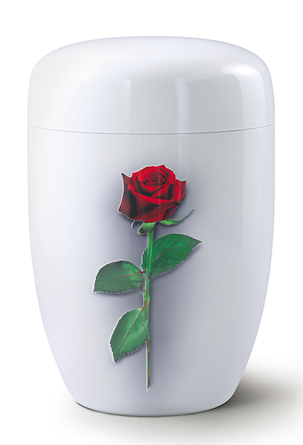 Design Urn Rode Roos op Witte Zijde (4 liter)