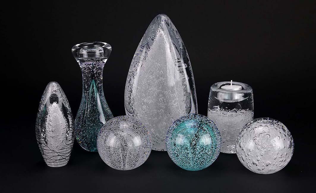 Kristalglazen Mini Bol Urn Stardust Bulb Tiffany Blue (0.08 liter)