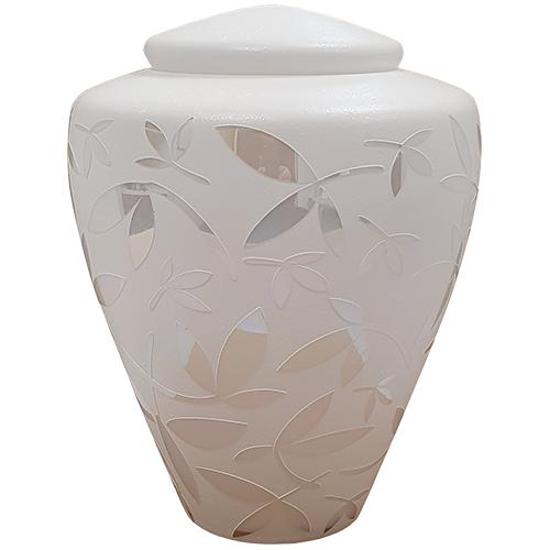 Glazen Urn Wit - Spiegelende Sierbladeren (4 liter)