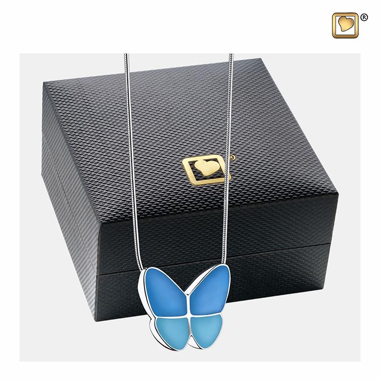 Ashanger Vlinder Blauw inclusief Collier