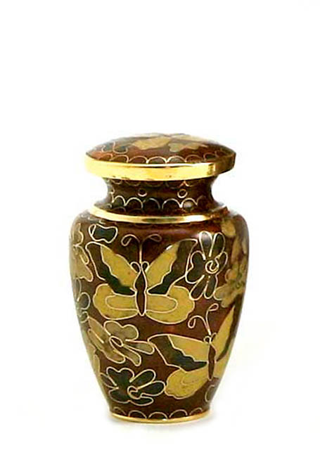 Golden Butterfly Cloisonne Mini Urn (0.11 liter)