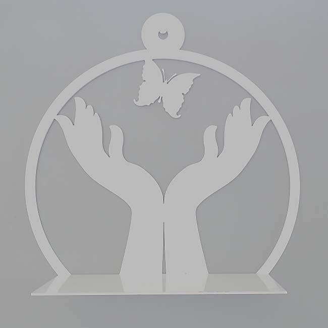 Klein Hangend Wand Gedenkaltaar Vrij Als Vlinder, RVS (21.5 cm)