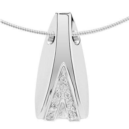 Witgouden Ashanger Mossel 8 Diamantjes