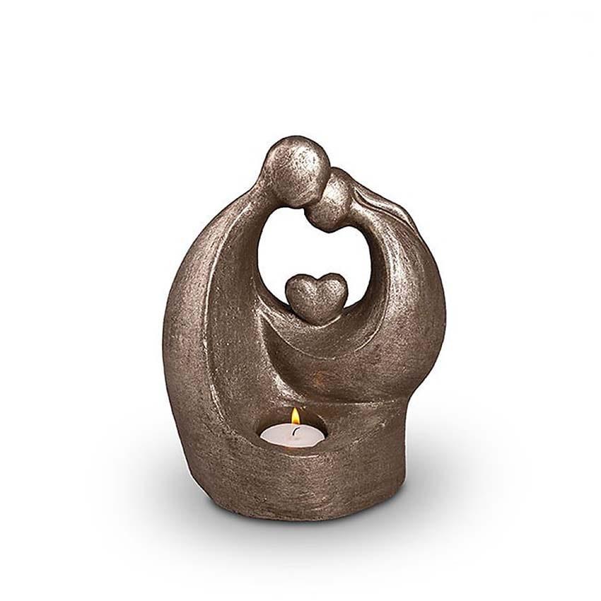 Keramische Art Urn Verlichte Troost met Hart Zilver (1 liter)