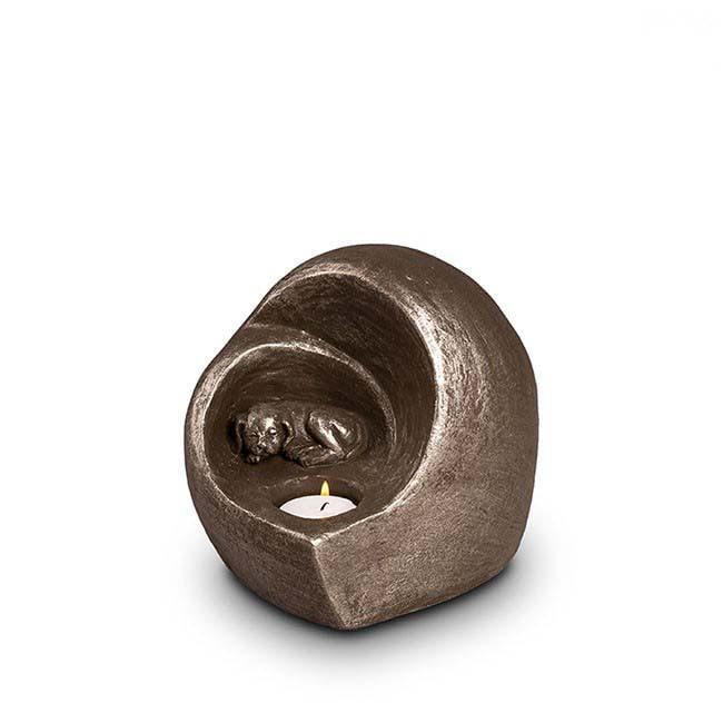 Keramische Honden Urn Eeuwige Slaap Zilver (0.5 liter)