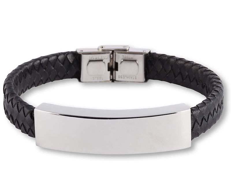 Zwart Lederen Aurora Armband met RVS Asruimte
