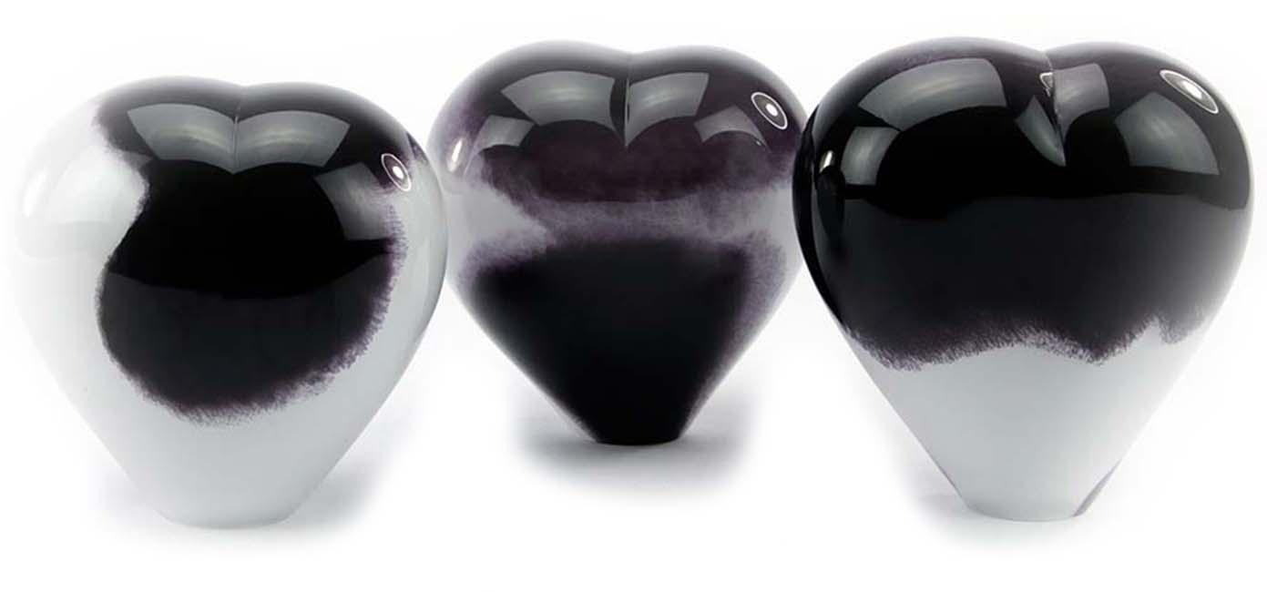 Kristalglazen Dieren Hart Urn Zwartwit Opaque (0.65 liter)