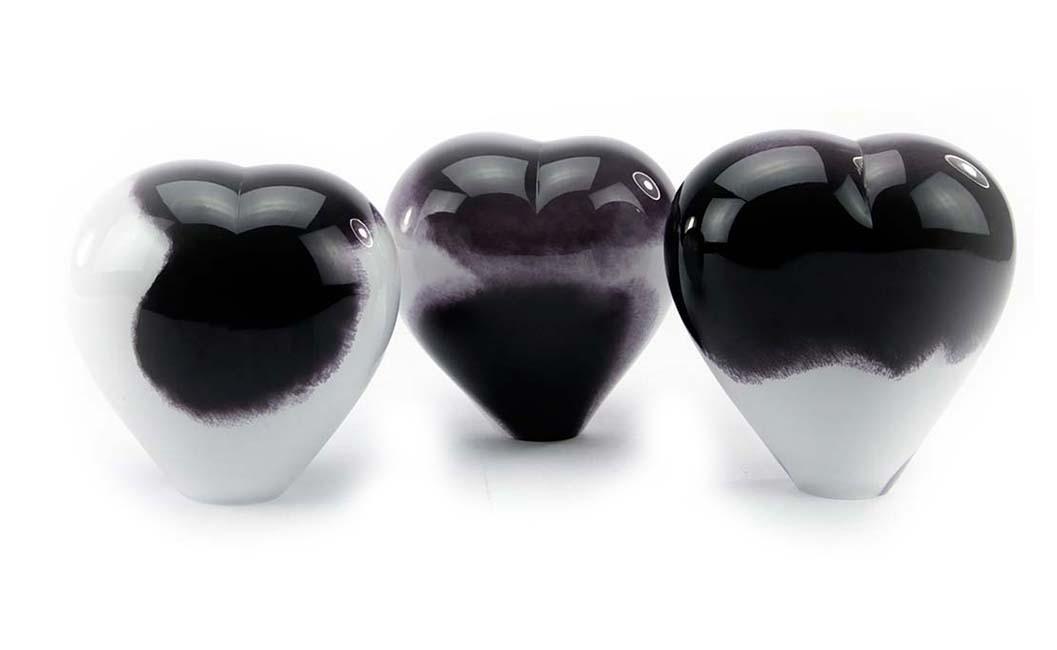 Kristalglazen Dieren Hart Urn Zwartwit Opaque (0.45 liter)